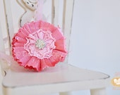 Valentine's Day, Pink, flower, lace, headband, babies, toddlers, little girls, photo prop, photography, weddings