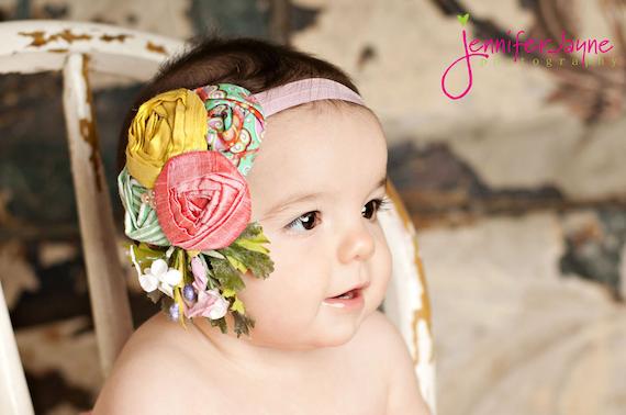 yellow, pink, green flower headband babies toddlers infants girls photo props photography weddings