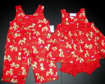 BROTHER/SISTER Twin Puppy Dog Matching Outfits, Size 6M