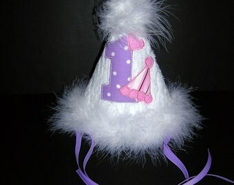 First Birthday Hat, Purple Polka Dot, READY TO SHIP