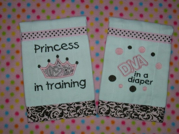 """GIFT SET of Two Baby Girl's Burp Cloths, """"Princess in Training"""", and """"Diva in a Diaper"""", Made to Order"""