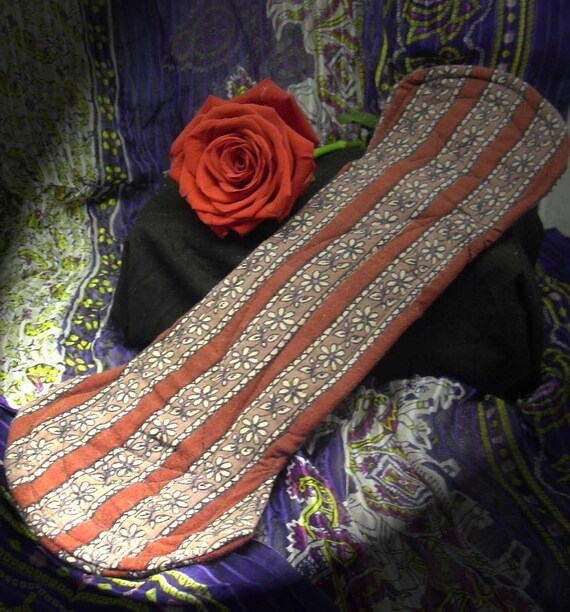 """Blue Moon cloth menstrual pads, 1Red Striped Flowers heavy/overnight, 12 1/2"""""""