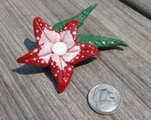 Red Polymer Clay Flower Pin or Brooch
