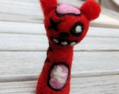 Needle Felted Red Zombie Bear