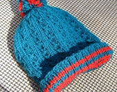 Handknit Turquoise Green and Red Christmas Theme Pompom Hat Children's 100% Acrylic