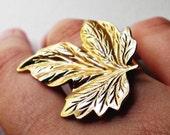 Gold Leaf Ring - Vintage Re-make - Zip and Ruth Flora Series