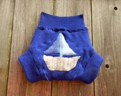 Upcycled Extra Fine Merino Wool Soaker Cover Diaper Cover With Added Doubler Navy Blue With Sailboat Applique MEDIUM Kidsgogreen