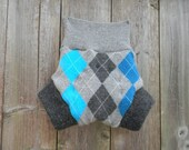 Upcycled Cashmere/Wool Soaker Cover Diaper Cover With Added Doubler Gray/Turquoise Argyle Pattern LARGE Kidsgogreen