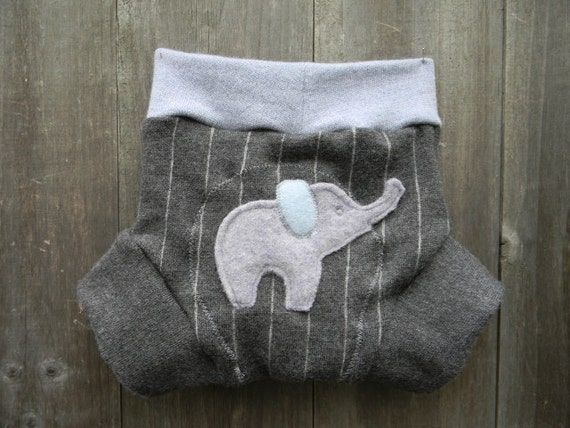 Upcycled Wool  Soaker Cover Diaper Cover With Added Doubler Gray Pin Stripes/Light Blue With Elephant  Applique MEDIUM  Kidsgogreen