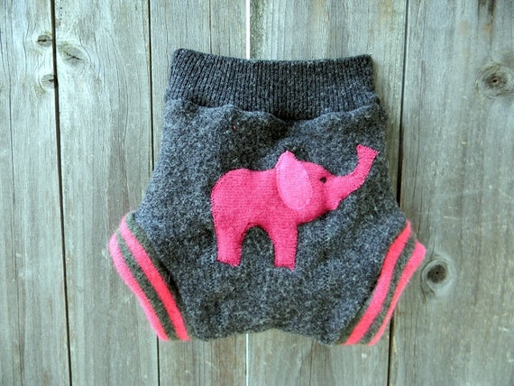 Upcycled Wool Soaker Cover Diaper Cover With Added Doubler Charcoal Gray/Hot Pink With Elephant Applique  LARGE Kidsgogreen
