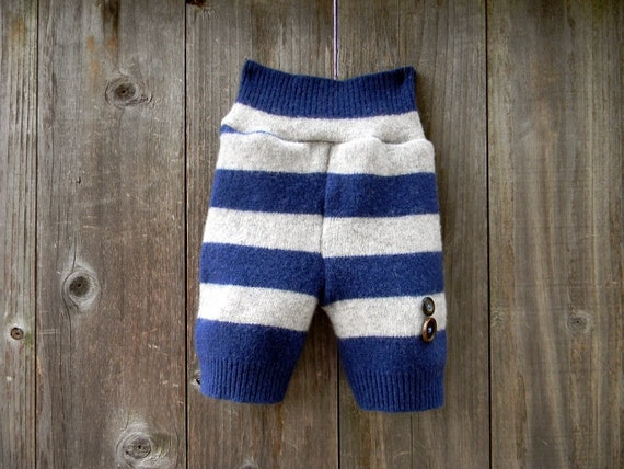 """Upcycled  Wool  Shorties Soaker Cover Diaper Cover """"LIL Sailor""""  Blue/Light Gray Stripes SMALL  Kidsgogreen"""