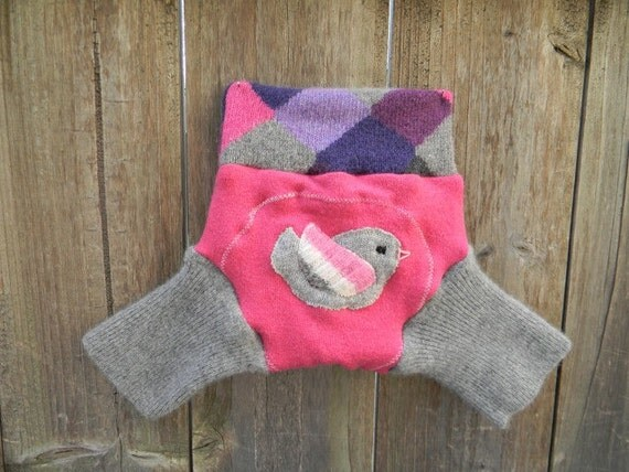 Upcycled Wool Shorties Soaker Cover Diaper Cover With Added Doubler Pink/Gray With Birdy Applique SMALL 3-6M  Kidsgogreen