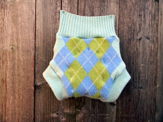 Upcycled Wool Soaker Cover Diaper Cover With Added Doubler Aqua Blue With Argyle Pattern LARGE Kidsgogreen
