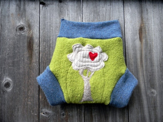 """Upcycled Wool /Cashmere Soaker Cover Diaper Cover With Added Doubler  Lime Green/Blue With """"I Love Tree"""" Applique LARGE 12-24M Kidsgogreen"""