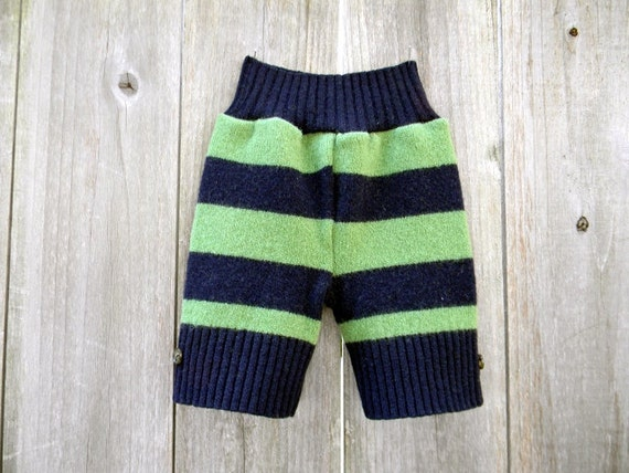 Upcycled Wool Shorties Soaker Cover Diaper Cover Shorts Blue/Green Stripes SMALL 3-6M Kidsgogreen
