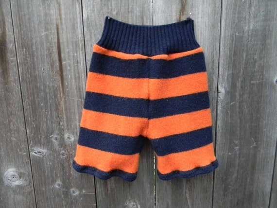 Upcycled Wool Shorties Soaker Cover Diaper Cover Shorts Blue/Orange Stripes MEDIUM 6-12M  Kidsgogreen