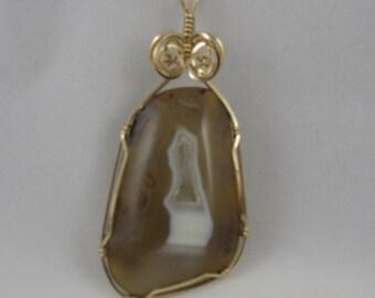 Transparent Agate Pendant w/Druzy