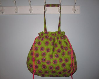 Neon Pink Daisy Tote Bag (Green/Pink)