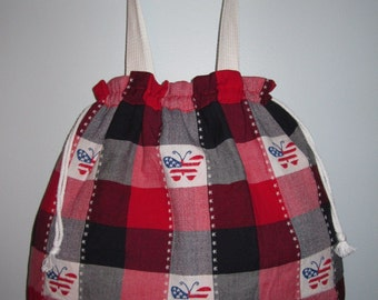 Tote Bag - Embroidered Butterfly Plaid (Red/White/Blue)