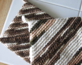 Crocheted Pot Holders - Set of 2 - Brown/Multicolor