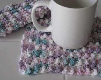 Crocheted Multicolor Pot Holders/Hot Pads/Dish Cloths - Set of 2