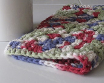 Crocheted Granny Square Multicolor Dish Cloth/Hot Pad/Pot Holder/Pet Bowl Coaster/Planter Pad