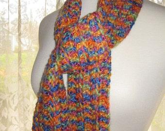 Crocheted Fashion Scarf - Multicolor