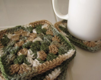 Crocheted Coasters - Set of 4 - Multicolor Green/Tan/White