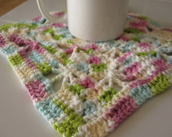 Crocheted Butterflies Decorative Hot Pad, Mug Mat - Multicolor