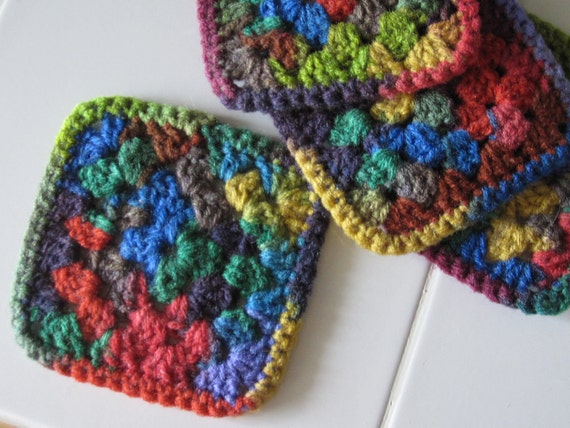 Crocheted Coasters - Set of 4 - Multicolor