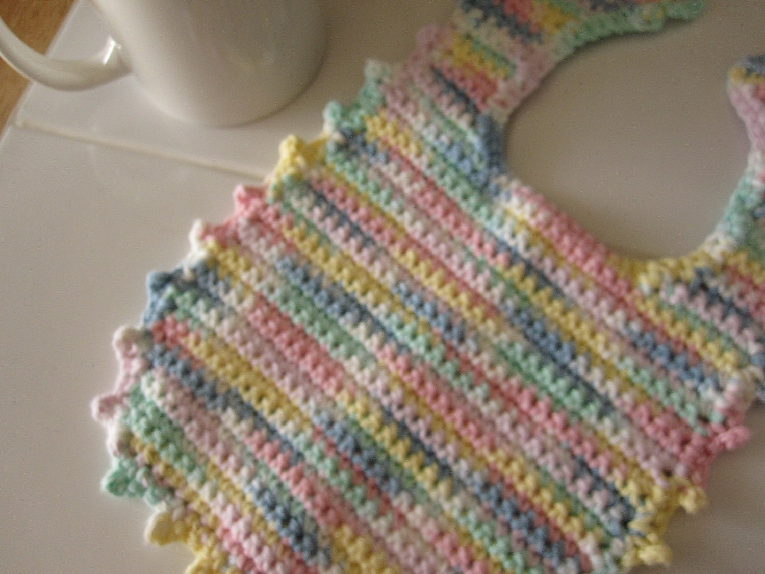 Crocheted Baby Bib Multicolor Pastels Cotton