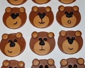 Bears Fondant Toppers for Cupcakes, Cake and Cookies- Edible- 1 DOZEN