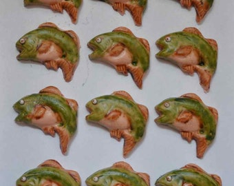 Bass Fish Fondant Cupcake or Cookie Toppers- Edible 1 DOZEN