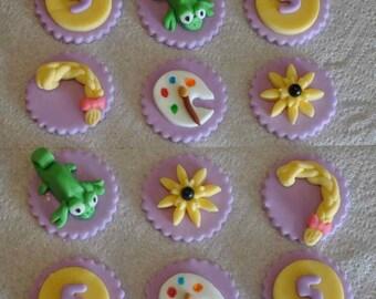 Rapunzel Inspired Fondant Cupcake or Cookie Toppers- Edible- 1 DOZEN