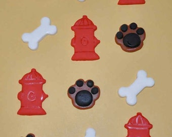 Doggie Paws, Bones and Fire Hydrant Fondant Toppers for Cakes, Cupcakes, Cookies or Brownies- Edible- 1 DOZEN