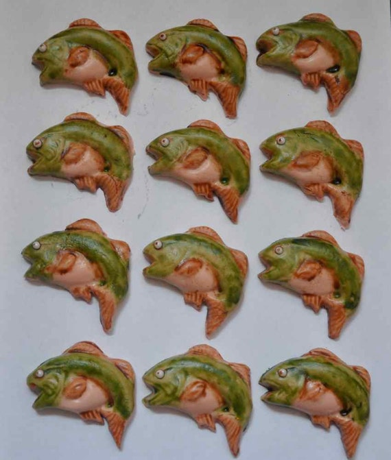 Bass Fish Fondant Cupcake or Cookie Toppers- Edible 1 DOZEN