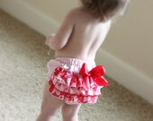Pink Sweetheart Ruffled Bottom Bloomer Diaper Cover  12-18mths