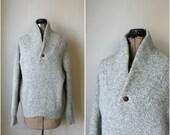 vintage gray wool sweater // vintage 1980s gray wool shawl collar sweater
