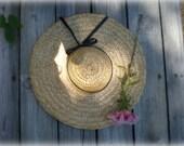 vintage straw hat II vintage Fields of Grass extra wide brim straw gardener boater hat