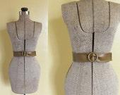 vintage cinch belt 1970s taupe cinch wide waist boho belt S A L E