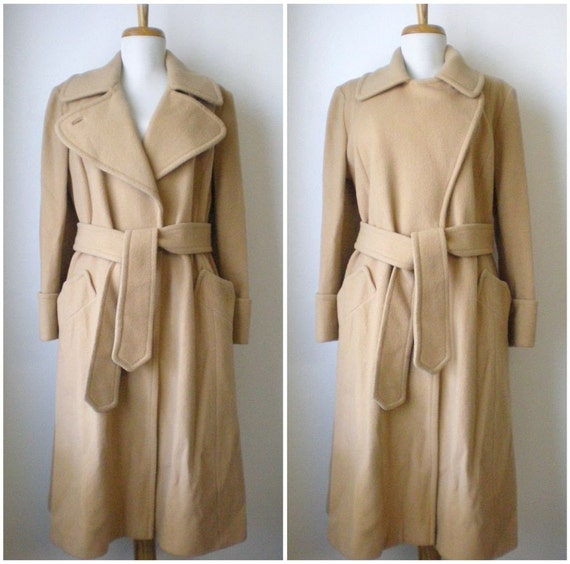 vintage 1960s classic camel wool coat with large notched convertible collar and belt