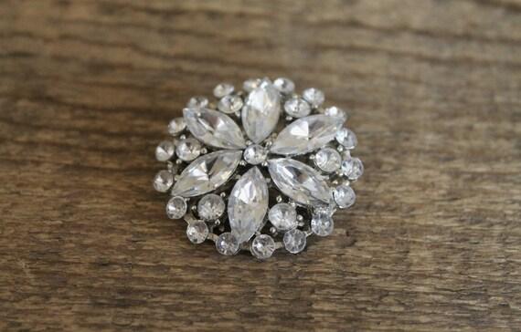 vintage rhinestone brooch ll vintage 1950s rhinestone petal cluster brooch