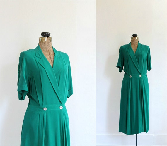 1920s style dress vintage 20s inspired emerald green silk dress / emerald city flapper