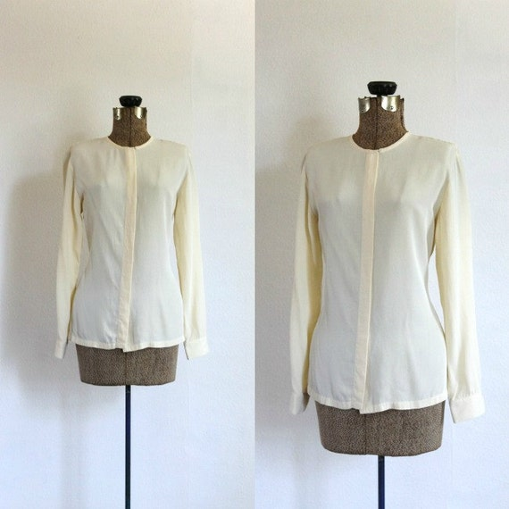 cream silk blouse vintage 1980s cream silk long sleeve slouchy buttondown blouse