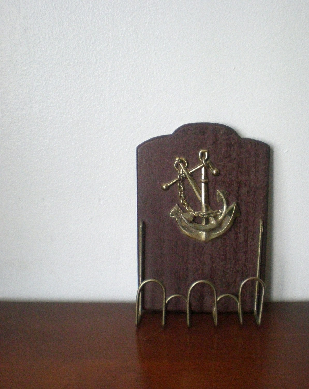 Vintage wall decor wooden anchor key holder or jewelry hook for Mural key holder