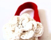 Christmas Flower Girl Cream flower with Pearl Headband /Newborn Toddler Kids / One size fits all with  Red Elastic band