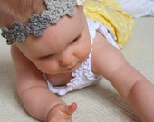 Crochet Flower Tiara Newborn/ Toddler Kids / One size fits all with White Elastic band