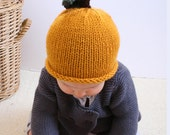 Newborn Hand Knit Mustard Yellow Pear Winter Baby Hat  Available size up to 3 Months