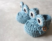 Blue Frog Loafer Style  Baby Booties  with Cute Frog Eyes