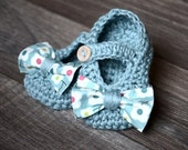 Blue Baby Booties with Floral Bow Tie